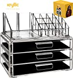 Acrylic Vanity Makeup Cosmetic Organizer -16 slot 3 deep drawer storage organizers for make up brushes lipstick lipgloss brush palette Countertop organization holder for bathroom & bedroom accessories