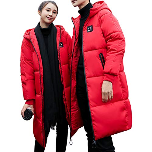 Red Couples Warm Keep Length Cotton Breathable Quilted BESBOMIG Clothes Ladies Men's Hooded Medium Fashion Jackets Padded Coat TXcBHqaO