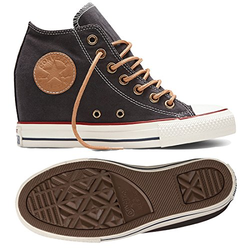 571b145e35d07e Galleon - Converse Chuck Taylor All Star Lux MID 551617C Almost Black Wedge  Women s Shoes (08.0)