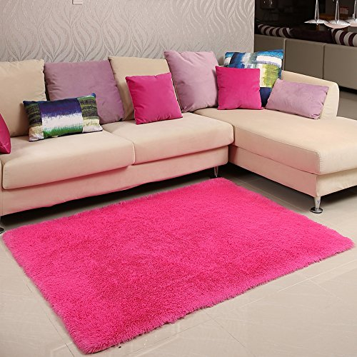 Wolala Home Wolala Home Pink 4' x 6'6 ft Soft Shaggy Plush Carpet for livingroom,Bedroom,Children's Room Non-Slip Washable Cozy Shag Rugs Mat price tips cheap