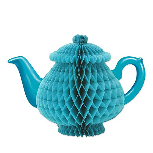 """Party Central Club Pack of 12 Alice in Wonderland Sky Blue Tissue Teapot Centerpieces 9.5"""""""