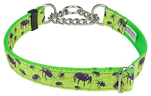 Country Brook Design Itsy Bitsy Spider Ribbon Half Check Dog Collar - Large