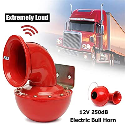 Kastma 250DB Bull Horn 12v Car Horn Red Electric Bullhorn Super Loud Air Horn Red Air Horn for Car Motorcycle Truck Car Boat: Kitchen & Dining