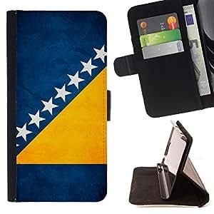KingStore / Leather Etui en cuir / Samsung Galaxy S4 IV I9500 / Nación Bandera Nacional País Bosnia y Herzegovina