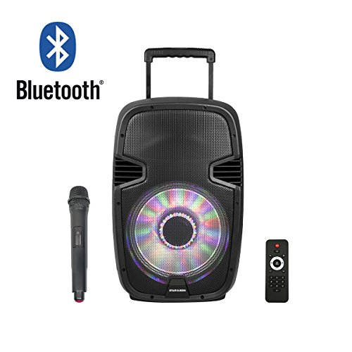 STARQUEEN 12' Wireless Bluetooth Portable Speaker with Built-in USB/SD/FM Radio Function, Mic/Guitar Jack, PA System for Home and Outdoors, Black