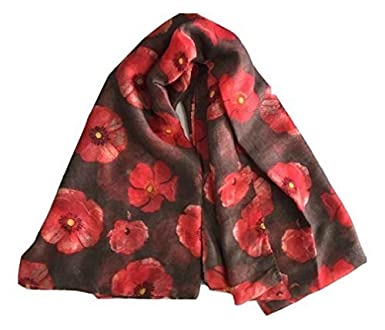 L/&L/® Women Ladys Poppies Flowers Warm Soft Scarf Wrap Shawl Stole Chiffon Wrap