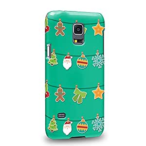 Case88 Premium Designs Art Cute Merry Christmas X'mas Christmas Clips Carcasa/Funda dura para el Samsung Galaxy S5 mini (No Normal S5 !)
