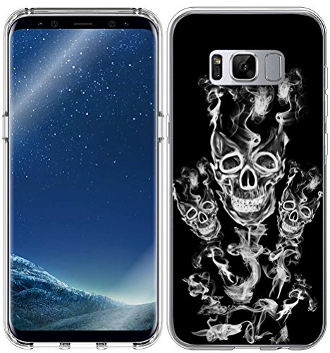 Designer TPU Non Slip Rubber Durable Compatible Protective Skin Clear Replacement Cover for Samsung Galaxy S8 + Cool Skull Smoke Design ()