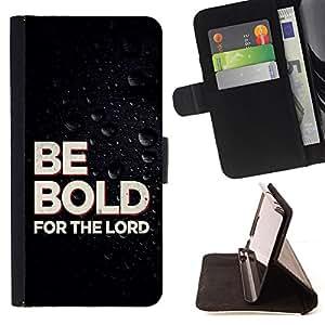 BullDog Case - FOR/LG OPTIMUS L90 / - / BE BOLD FOR THE LORD /- Monedero de cuero de la PU Llevar cubierta de la caja con el ID Credit Card Slots Flip funda de cuer