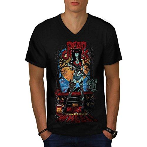 Dead Chick Watch Out War Wheel Men NEW M V-Neck T-shirt | Wellcoda (V Wars Night Terrors)