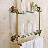 Yomiokla Bathroom Accessories - Kitchen, Toilet, Balcony and Bathroom Metal Towel Ring Copper Double-Glazed Windows Built-in Shelf Antique Shelf Continental 43cm42cma Cosmetics.