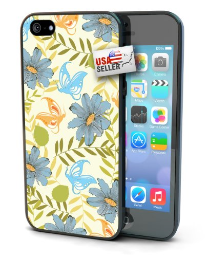 Flower and Butterfly Black Plastic Cover Case for iPhone 4 or 4s