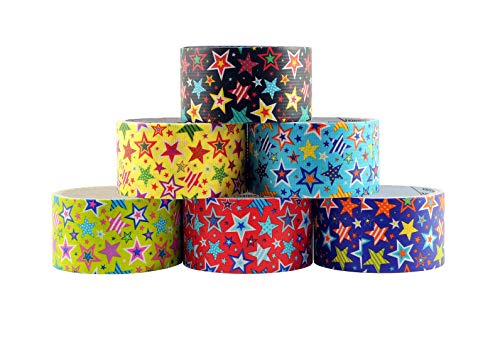 6 Roll Variety Pack of Decorative Duct Style Tape, Star Tape, Each Roll 1.88 Inch x 5 Yards, Ideal for Scrapbooking - Decorating - Signage (6-Pack,Stars) (Designer Duct Tape Pack)
