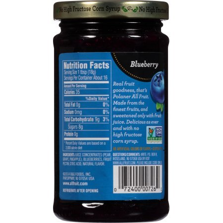 Polaner All Fruit Blueberry Spreadable Fruit, 10 oz (Pack of 4) Gluten free by Polaner (Image #3)'
