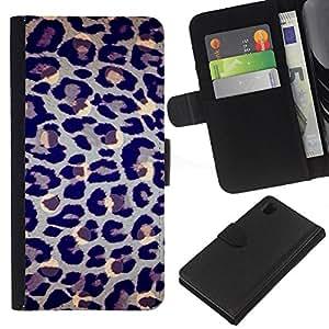 iBinBang / Flip Funda de Cuero Case Cover - Pattern Fur Blue Grey Art Animal - Sony Xperia Z1 L39H