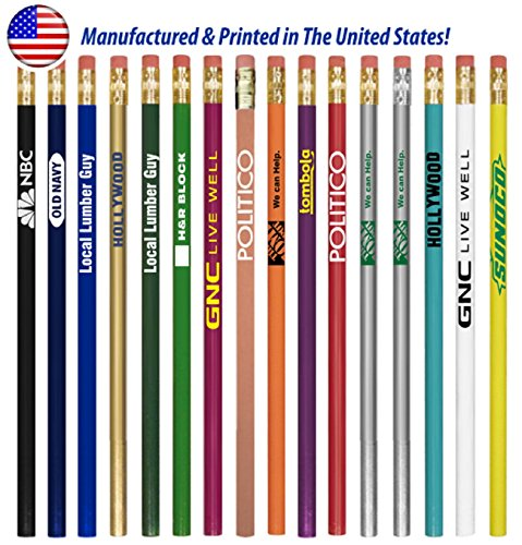 250 Personalized Made in the USA Round Wooden #2 Pencils with Your Company / School Logo or Message by Ummah Promotions