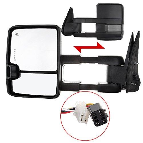 (SCITOO Black Side Mirror 99-02 Chevy/GMC Silverado/Sierra Power Heated LED Turn Signal Towing Mirrors Pair Set)
