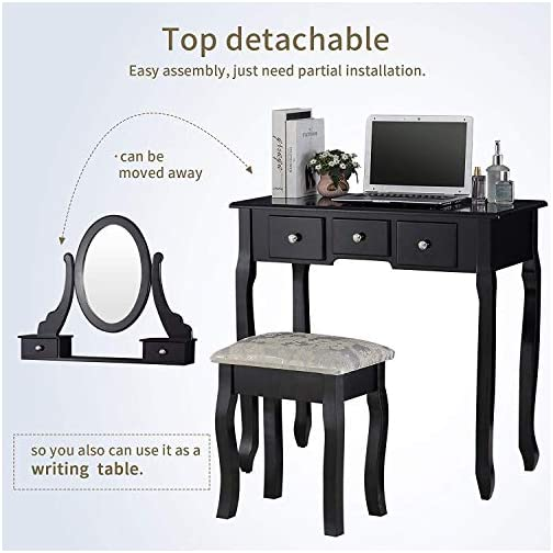 Mecor Vanity Table Set, Dressing Table with Mirror,Vanity Makeup Table with 5 Drawers/Stool,Black