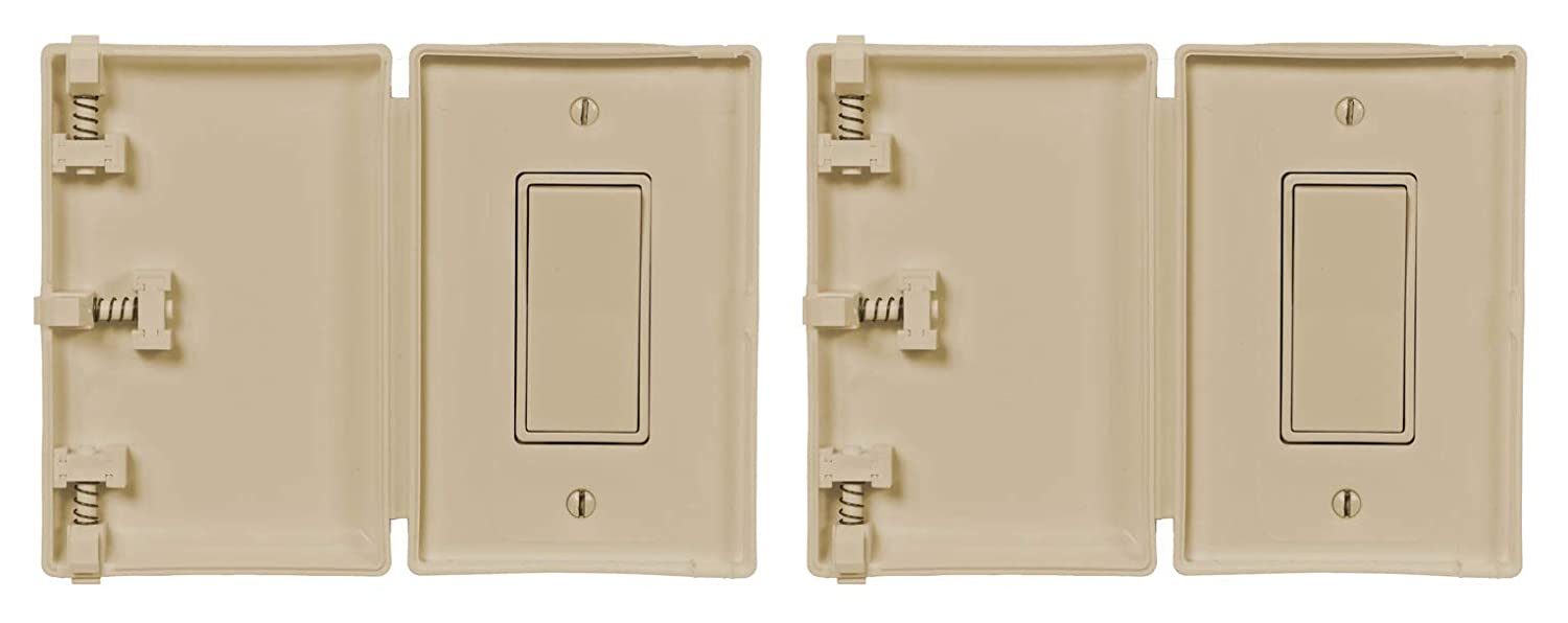 Child Be Safe, Baby and Toddler Resistant Electrical Safety Cover Guard for Home and Business, Compatible with Decora Leviton Legrand, Modern Wide Light Switch (Ivory, 2-Pack)