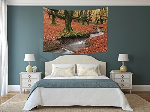 iPrint Polyester Tapestry Wall Hanging,Landscape,Flowing Stream Colorful Autumn Forest Leaves Gorbea Natural Park Spain,Paprika and Green,Wall Decor for Bedroom Living Room Dorm by iPrint