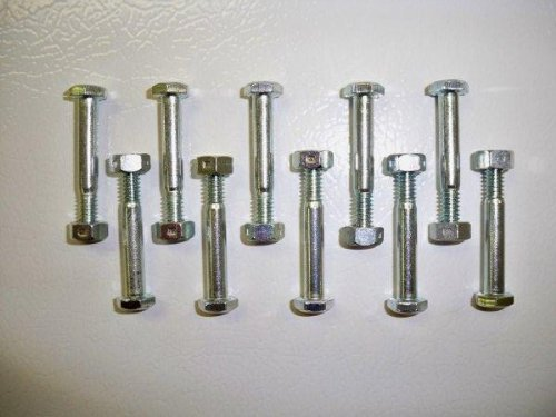 10 Pack, Shear Pins and Nuts, Replaces Ariens 510016, 51001600, 532005, 53200500. Rotary
