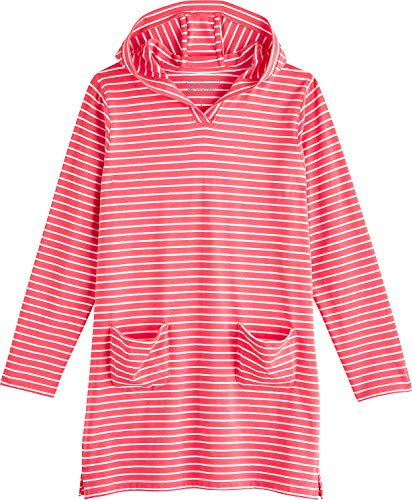 Coolibar UPF 50+ Girl's Beach Cover-Up Dress - Sun Protective (Medium- Sunset Coral/White Stripe)