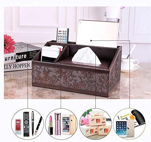 Natoo Leather Tissue box Holder TV Remote Control Holder Organizer / Controller TV Guide Mail Caddy for Desk Caddy Office Pens Pencils Makeup Brushes Vanity Nightstand Holder - Brush Night