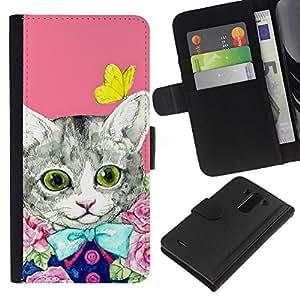 KingStore / Leather Etui en cuir / LG G3 / Kit Gatito Gato rosado de la mariposa