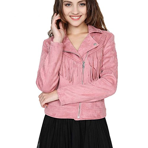 Aohang Women's Faux Suede Fringed Jacket Short Casual Coat Pink