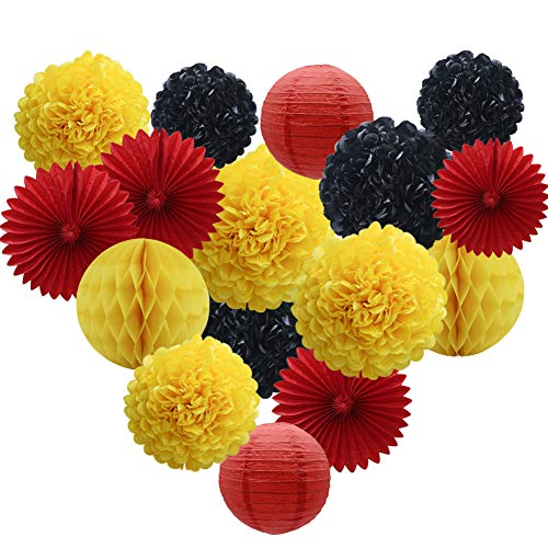 Yellow Black Red Party Decorations 16pcs Paper Pom Poms Honeycomb Balls Lanterns Tissue Fans for Firetruck Birthday Graduation Mickey Mouse Theme Baby Shower