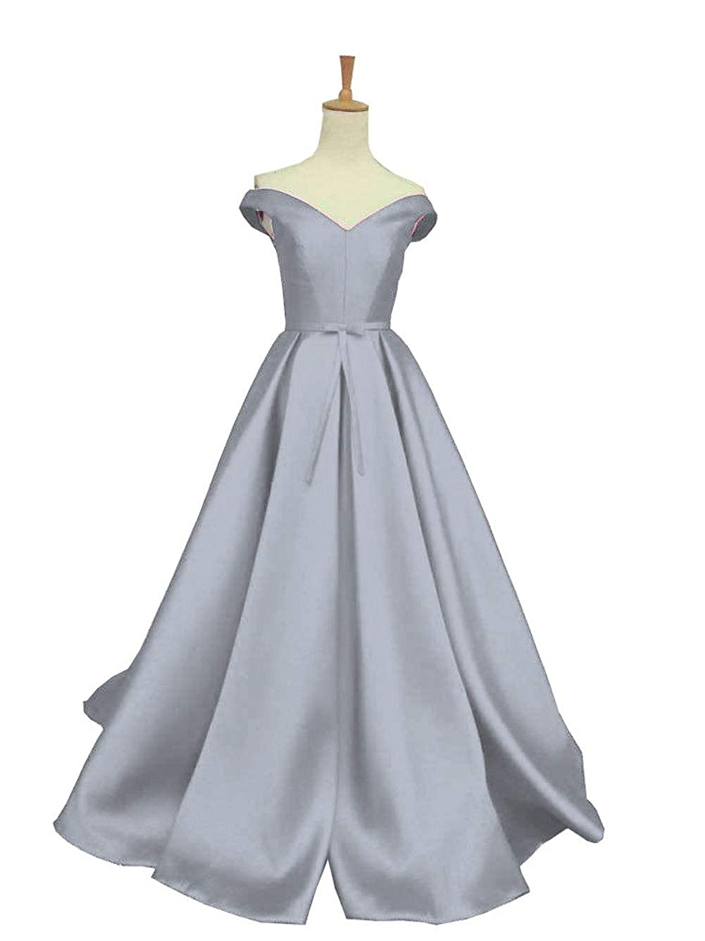 Silver DreamSkirts Women's Off The Shoulder ALine Evening Ball Gowns with Bow