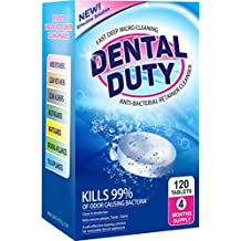 120 Retainer Cleaning Tablets -(4 Months Supply)- Removes Stain, Plaque & Bad Odor from Dentures, Nightguard, Mouth Guard & Removable Dental Appliances. Made in USA.