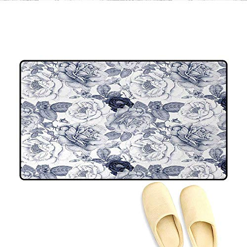"""Door Mats,Garden Spring Roses Buds with Leaves Flowers Romantic Image Artwork,Bath Mats for Bathroom,Blue Grey and White,Size:32""""x48"""""""