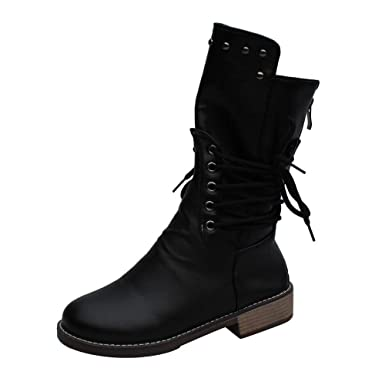 012312e103d7 Amazon.com: Clearance Sale Military Boots,Womens Artificial Leather  Waterproof Mid Calf Boots [On Sale] Casual Flat Shoes 5.5-10.5: Clothing