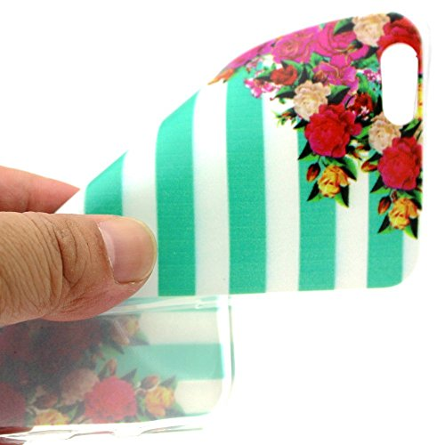 Apple iPhone 6/6S Étui Housse Case Gel/TPU Bandes et fleurs decui Multicolore/TPU Coque en gel