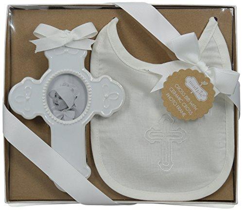 Mud Pie Cross (Mud Pie Baby Bib and Cross Frame Gift Set, White, One Size)