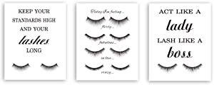 Inspirational Quote&Saying Typography Painting Fashion Women Cardstock Art Print Beautiful Long Lashes Wall Art Poster For Girl Women Bedroom Home Decor (set of 3, 8'' x 10'',Unframed)