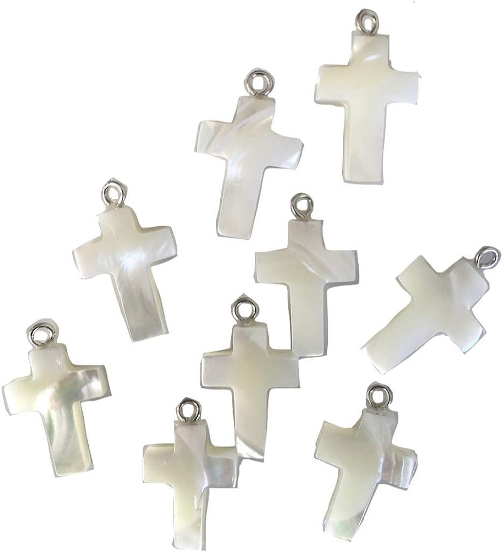 Lot de 10 breloques pendentifs croix en métal argenté vieilli bc209