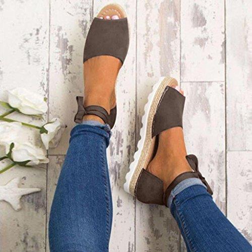 para verano mujer y chicas encaje grande alpargatas de joven GRIS damas sandalias zapatos Mujeres fornidos Sonnena talla mujers piso verano hasta para Sandalias tTAqwgPx