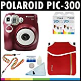 Polaroid PIC-300 Instant Film Analog Camera (Red) with (2) Polaroid 300 Instant Film Packs of 10 + Polaroid Neoprene Pouch + Polaroid Cleaning Kit + Neck & Wrist Strap