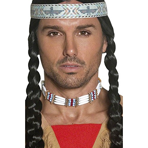 Pow Wow Man Indian Costumes (Smiffy's Adult Unisex Native American Indian Choker, Beaded, White, One Size, 33229)