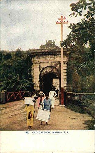View of Old Gateway Manila, Philippines Original Vintage Postcard (Old Manila)