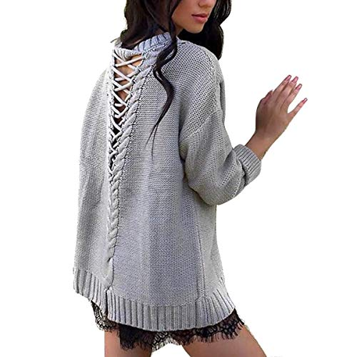 (Women Round Neck Long Sleeve Loose Sweater Hollow-Out Braided Knit Shirt Jumper Outwear (Color : Grey, Size : XL))