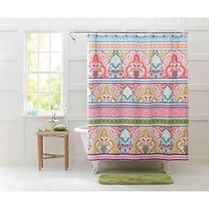 Better Homes And Gardens Jeweled Damask Shower Curtain, Beautiful And  Vibrant Multi Colored Design,