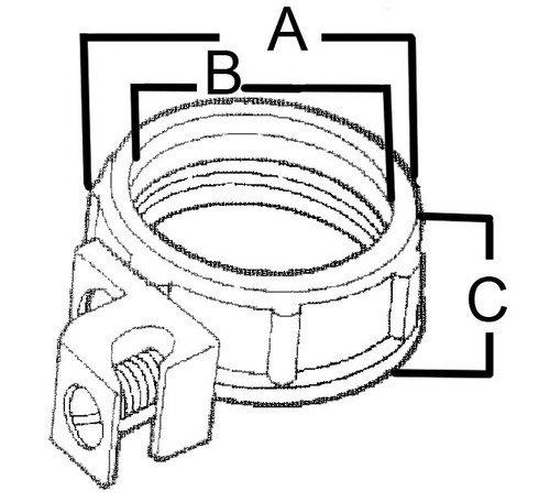 Morris 14581 Insulated Throat Grounding Bushing, Zinc Die Cast, Aluminum Lug, 3'' Thread Size