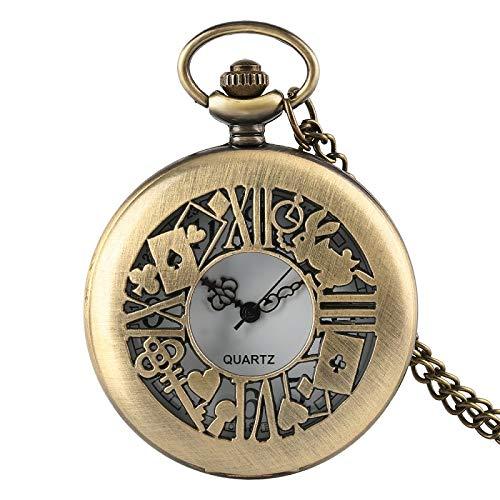 Railroad Man Fashion Lovely Alice in Wonderland Design Round Quartz Pocket Watch | with Necklace Chain | for Girl Ladies Gift