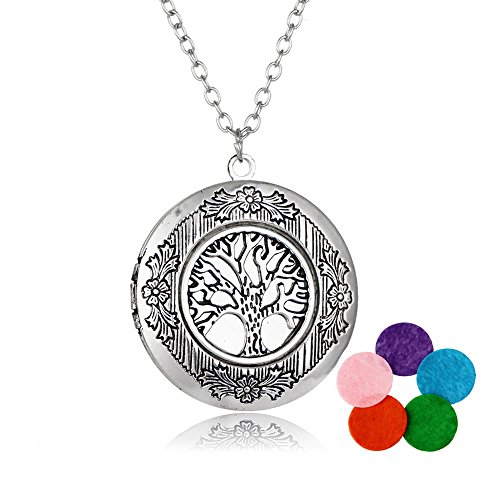 Satr and Sea Vintage Life of Tree Locket Album Pendant Necklace (Silver)
