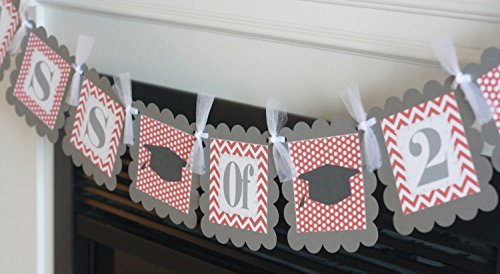 "Graduation ""Congrats Grad"" or ""Class of 2017"" or (2018, 2019, 2020 etc.) Crimson Maroon Burgundy Red & Grey Chevron Dot - Party Pack Specials - Cupcake or Cake Toppers, Door Sign, Favor Tags etc."