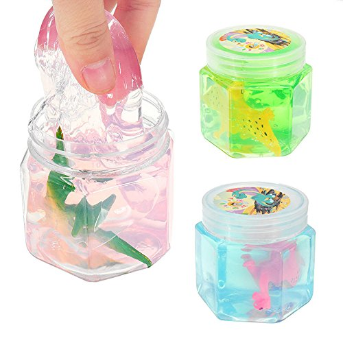 Creature Goo Miniature - Dinosaur Animal Crystal Mud Hex Bottle Transparent Slime Diy 5cm Plasticine Toy Gift - Beast Muck Plaything Fauna Guck Fiddle Animate Sensual Physical - 1PCs