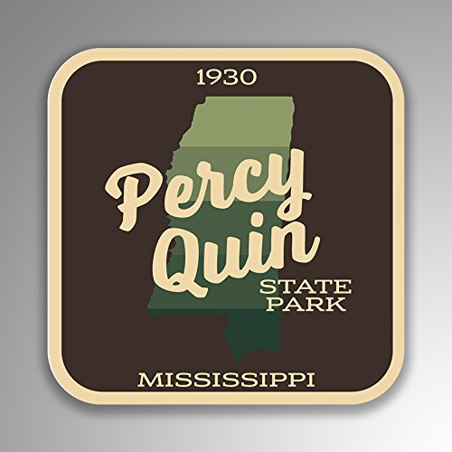 JMM Industries Percy Quin State Park Mississippi Vinyl Decal Sticker Retro Vintage Look 2-Pack 4-inches by 4-inches Premium Quality UV Protective Laminate ()